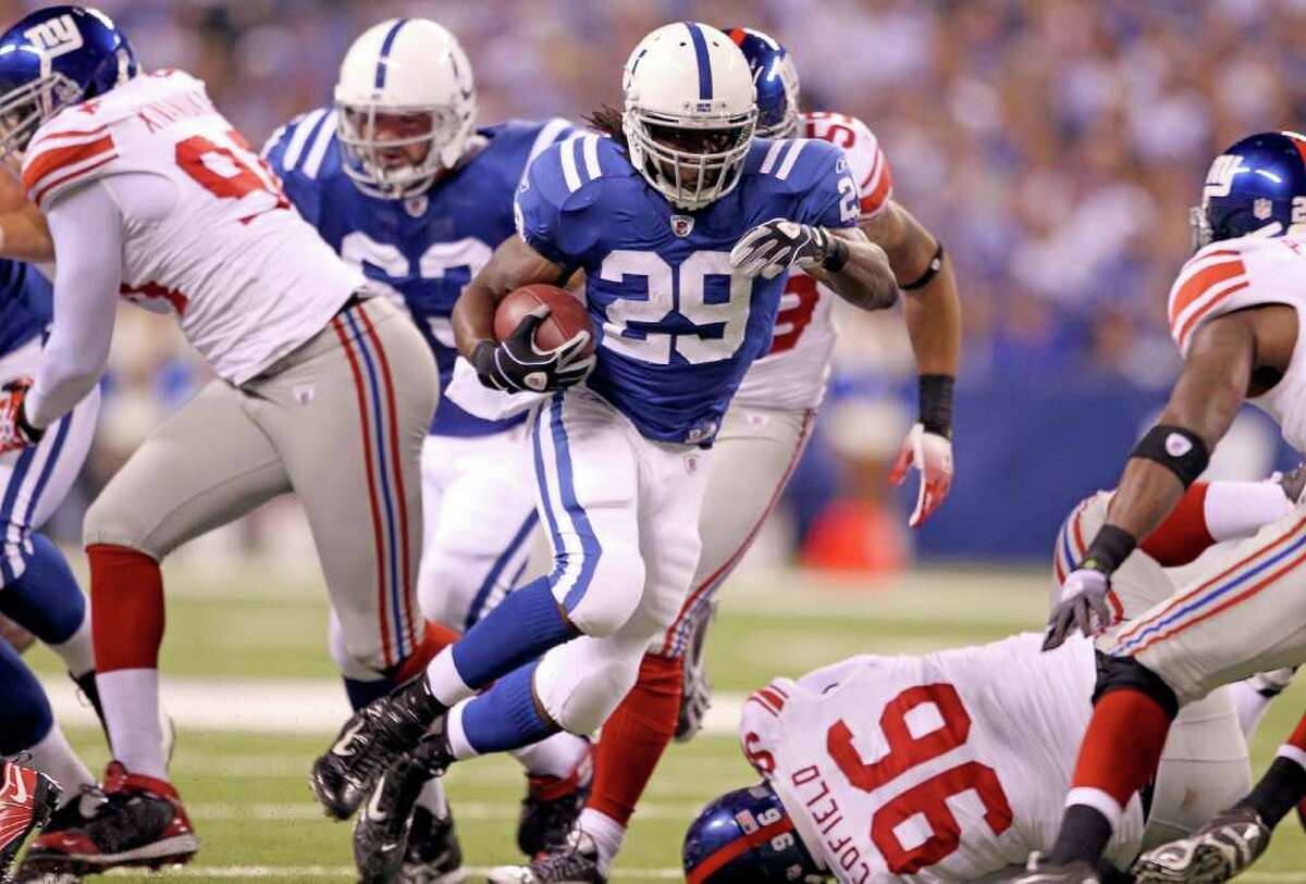 INDIANAPOLIS - SEPTEMBER 19: Joesph Addai #29 of the Indianapolis Colts runs with the ball during the NFL game against the New York Giants at Lucas Oil Stadium on September 19, 2010 in Indianapolis, Indiana. (Photo by Andy Lyons/Getty Images) *** Local Caption *** Joesph Addai