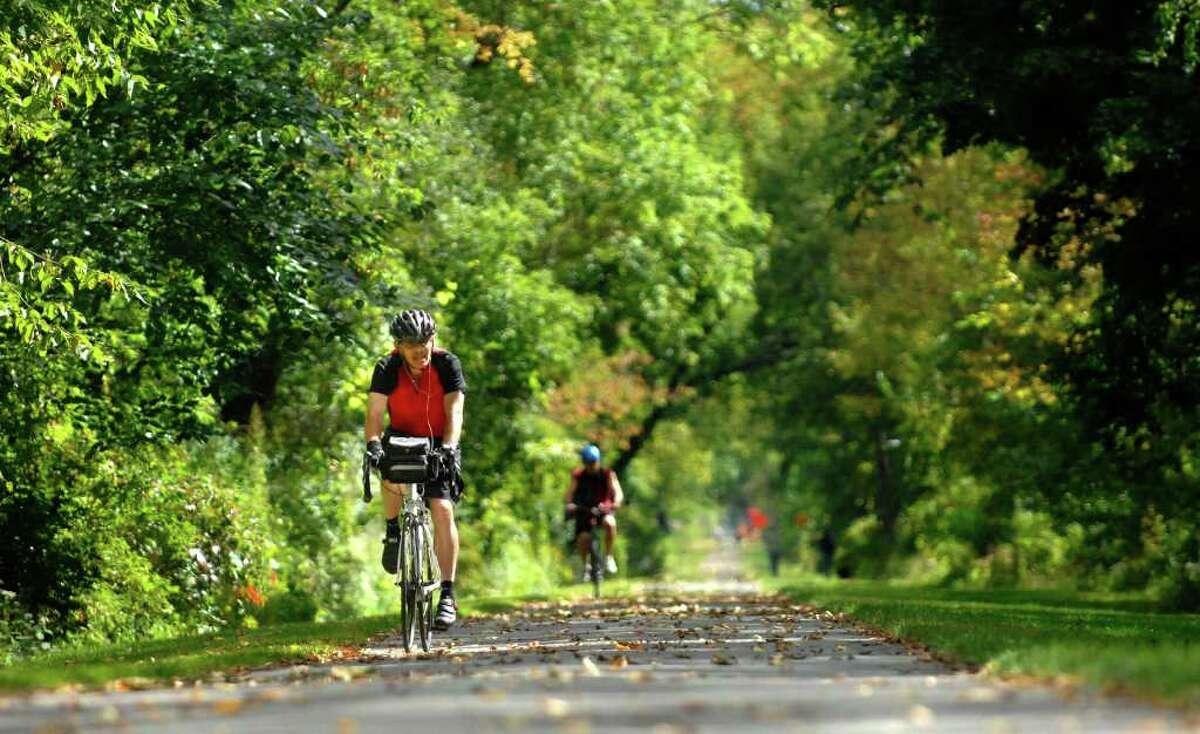 Ted Munn enjoys a bike ride along the Mohawk River in Niskayuna, NY on Monday, Sept. 20, 2010. (Paul Buckowski / Times Union)