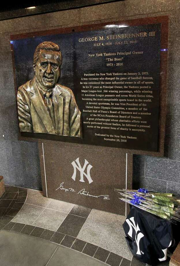 NEW YORK - SEPTEMBER 20:  The monument to the late New York Yankees owner George Steinbrenner is seen prior to game against the Tampa Bay Rays on September 20, 2010 at Yankee Stadium in the Bronx borough of New York City.  (Photo by Jim McIsaac/Getty Images) Photo: Jim McIsaac, Getty Images / 2010 Getty Images