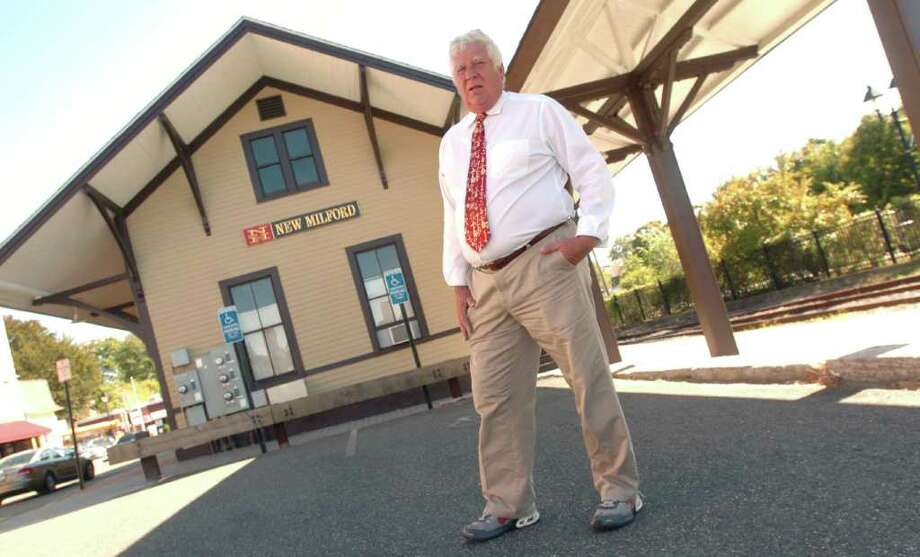 Bob Rush, of New Milford, standing near the New Milford train station, has been an outspoken advocate for the restoration of passenger rail service to New Milford. Photographed  September 21, 2010. Photo: Chris Ware / The News-Times