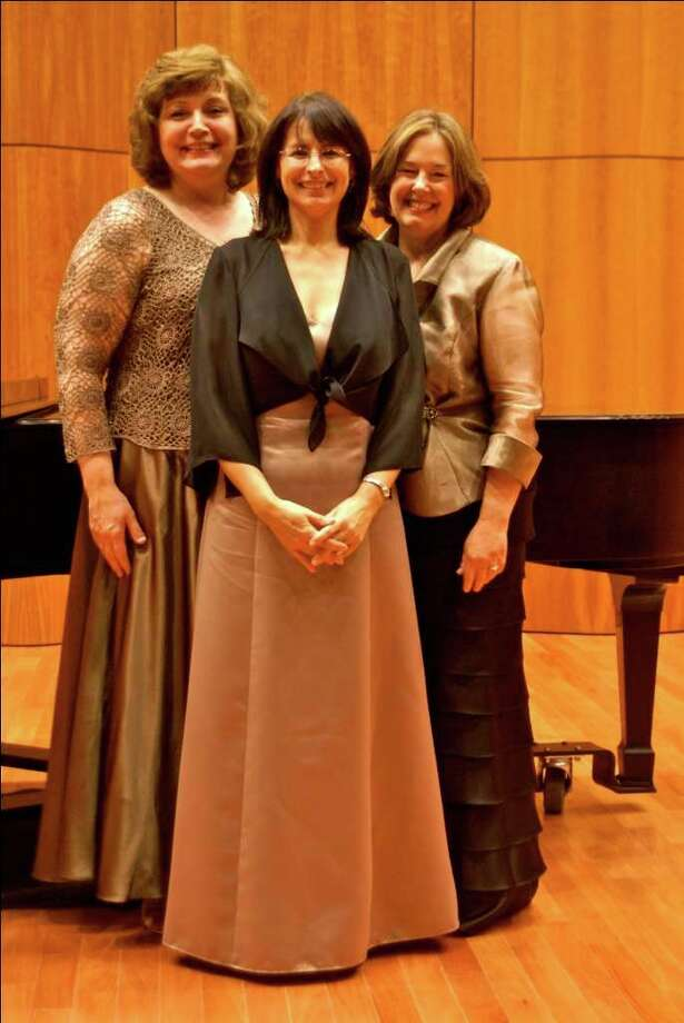 Lucille Beer, left, Yvonne Chavez Hansbrough and Susan Harwood of the Saint Rose Camerata. (Photo by Dennis Johnston)