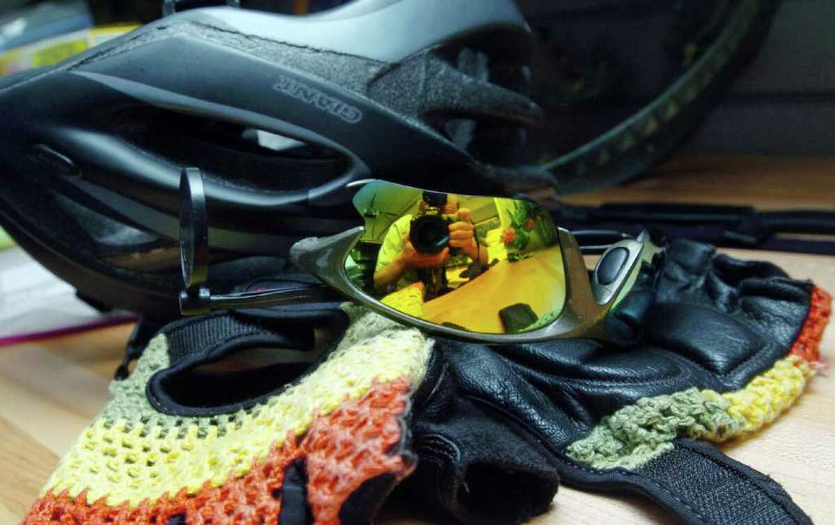Protective bicycle equipment owned by Blake Brown, 37, of Brookfield, who is riding his bicycle from Maine to Florida on a 37-week journey to raise money for his church.