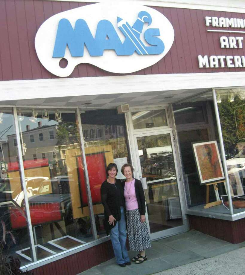 Max's Art Supplies, located in Westport's downtown area on the Post Road, offers local artists the opportunity to display original works in their windows. Each artist gets one month to show off their creations. September's featured artist is Sherri Wolfgang. In this photo, Wolfgang (on left) stands with Max's owner Shirley Mellor. Photo: Contributed Photo / Westport News