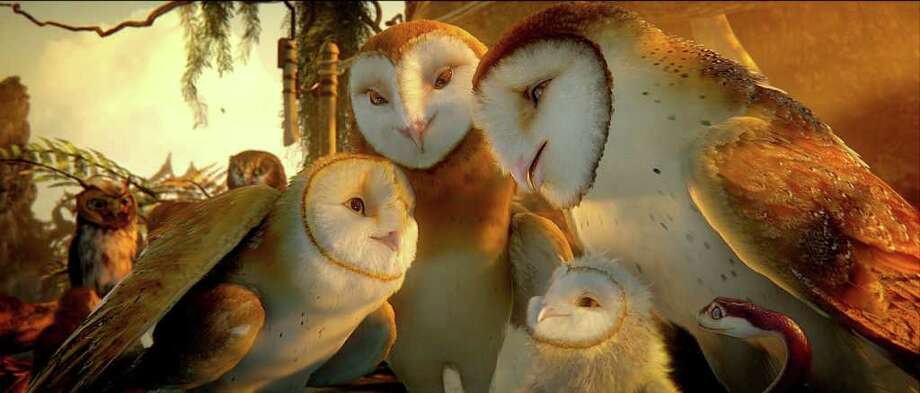 "From left, Soren voiced by JIM STURGESS; Marella voiced by ESSIE DAVIS; Eglantine voiced by ADRIENNE deFARIA; Noctus voiced by HUGO WEAVING and Mrs. Plithiver voiced by MARIAM MARGOLYES in family fantasy adventure ""LEGEND OF THE GUARDIANS: THE OWLS OF GA'HOOLE."" (Warner Bros. Pictures) Photo: Courtesy Of Warner Bros. Pictures / (C) 2010 GOG PRODUCTIONS PTY LTD"