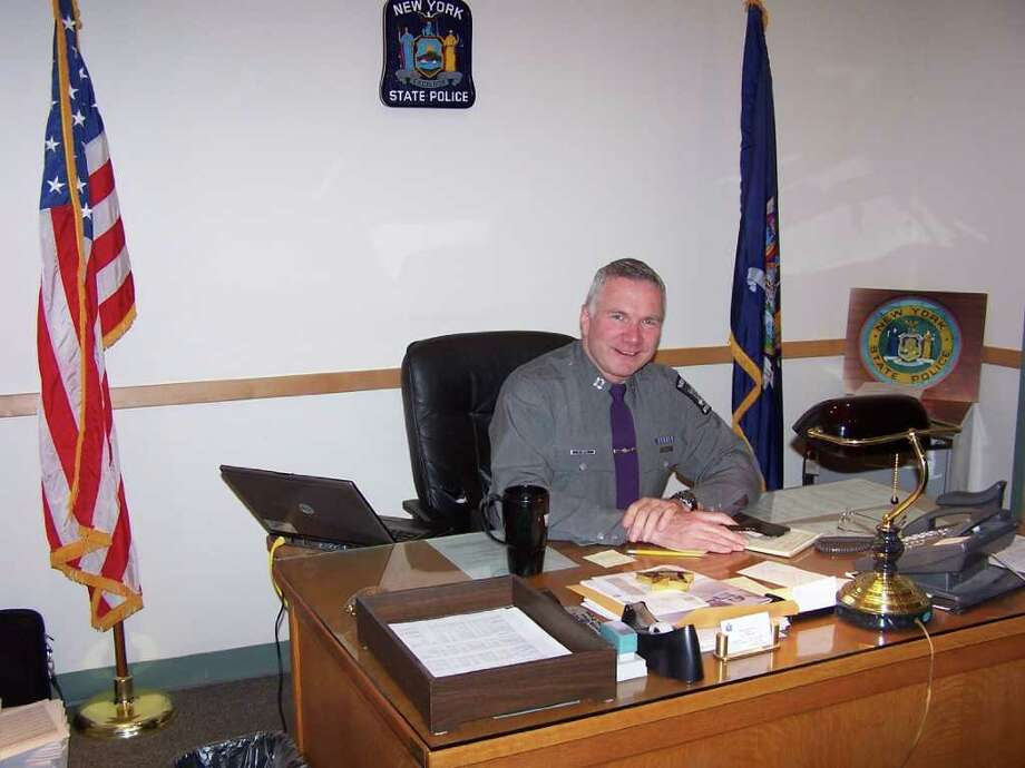 Ron Tritto on 4/2/09, the day he retired from State Police. (Photo by Eric Cullum)