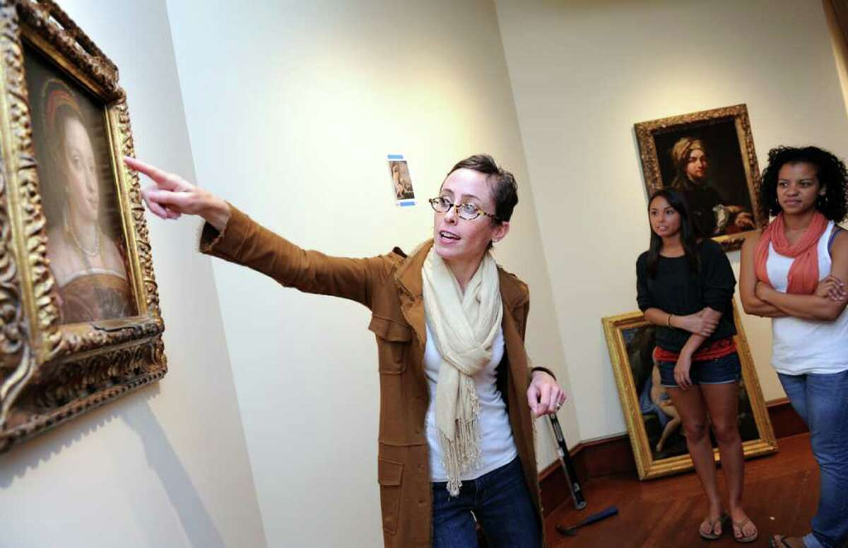 Fairfield University professor Jill Deupi discusses a painting with her class Friday Sept. 24, 2010 in the Frank and Clara Meditz Gallery at the new Bellarmine Museum of Art, set to open in October. Deupi is the museum's director as well as an assistant professor of Art History.