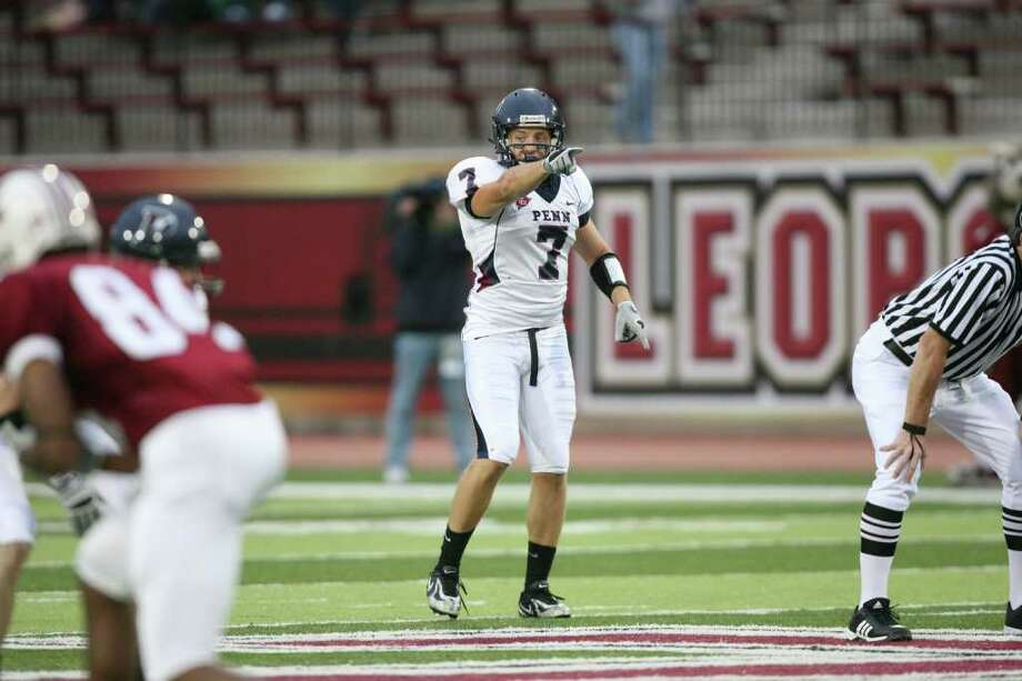 Josh Powers, a defensive back at the University of Pennsylvania, gestures during a game at the University of Louisiana at Lafayette, Louisiana, U.S., in this handout photo taken on Sept. 26, 2009. Powers, 22, used his contacts with Robert Wolf and George Weiss to land internships at their companies the past two years. After graduation, he's set to embark on a banking career. Source: Penn Athletics via Bloomberg  EDITOR'S NOTE: EDITORIAL USE ONLY. NO SALES. Photo: Via Bloomberg / Penn Athletics
