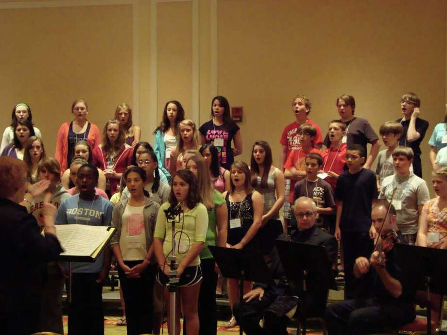NYS Middle School Honors Choir students in rehearsal at the Crowne Plaza in Albany in August. (David Griggs Janower)