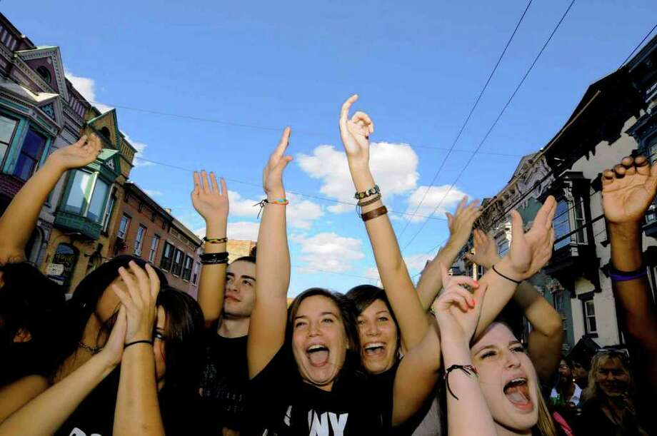 """The LarkFest 2010 crowd cheers on the band Eli """"Paperboy"""" Reed and True Love during this years fest in Albany Saturday afternoon. 9/25/2010. (Michael P. Farrell / Times Union) Photo: Michael P. Farrell"""
