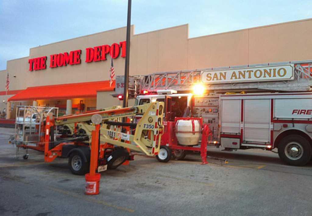 Two alarm fire damages home improvement store san for San antonio home alarm