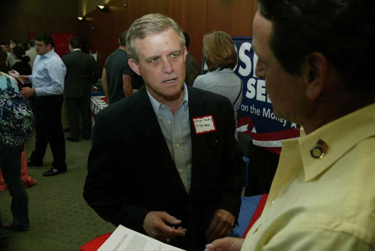 Republican Senate candidate Ethan Book answers questions April 13 during Candidates Day at Sacred Heart University in Fairfield.