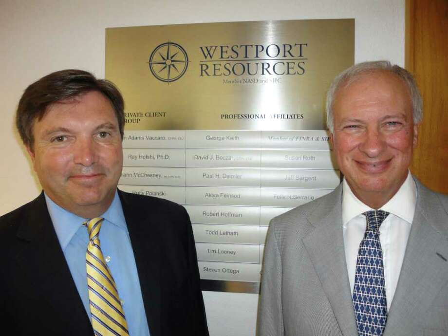 George Keith, president of Westport Resources, left, and John Vaccaro, the founder and owner of the financial advisor that is celebrating 25 years in business this October. Photo: Contributed Photo / Westport News