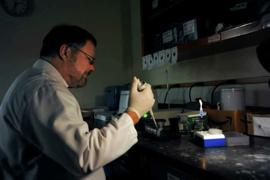 Doug Serafin, of the Greenwich Department of Health, tests ticks for Lyme disease and Bobesia bacteria in his laboratory on Monday, Sept. 27, 2010. Photo: Helen Neafsey / Greenwich Time