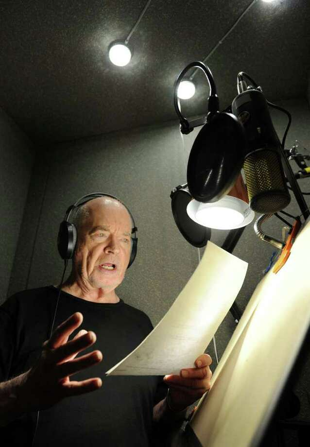 Don Morrow of Danbury is a local celebrity voice actor. He is pictured working in his recording booth at home Monday, Sept. 27, 2010. Photo: Carol Kaliff / The News-Times