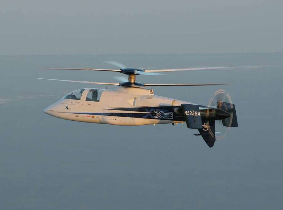 The Sikorsky's X2, the hybrid helicopter that can take off like a chopper but fly at the speed of many fixed wing aircrated, and reached more than 250 knots in recent tests, is seeing its first challenge from rival Eurocopter, whose X3 hybrid helicopter is underdoing initial trials, hoping eventually to fly 220 knots. Photo: Contributed/C. David  LaBia, ST / Connecticut Post Contributed C. David LaBianca