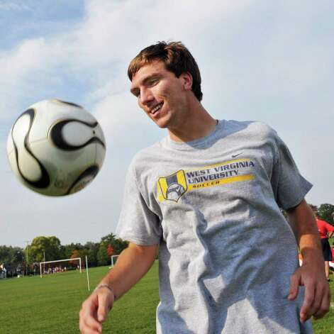 High school boys' soccer -- Niskayuna midfielder Ryan Tauss works on a drill during practice at the school.   (John Carl D'Annibale / Times Union) Photo: John Carl D'Annibale / 00010389A