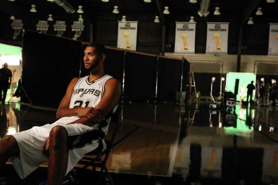 "Tim Duncan, answering questions during the Spurs' media day Monday, expects to play fewer minutes this season. ""Obviously, I want to be on the floor every minute there is, but that's not what's best for us and not what's best for me,"" he said."