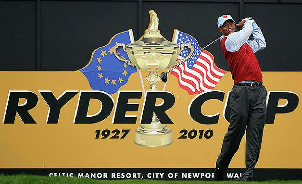 NEWPORT, WALES - SEPTEMBER 28: Tiger Woods of the USA tees off during a practice round prior to the 2010 Ryder Cup at the Celtic Manor Resort on September 28, 2010 in Newport, Wales. (Photo by Andy Lyons/Getty Images) *** Local Caption *** Tiger Woods