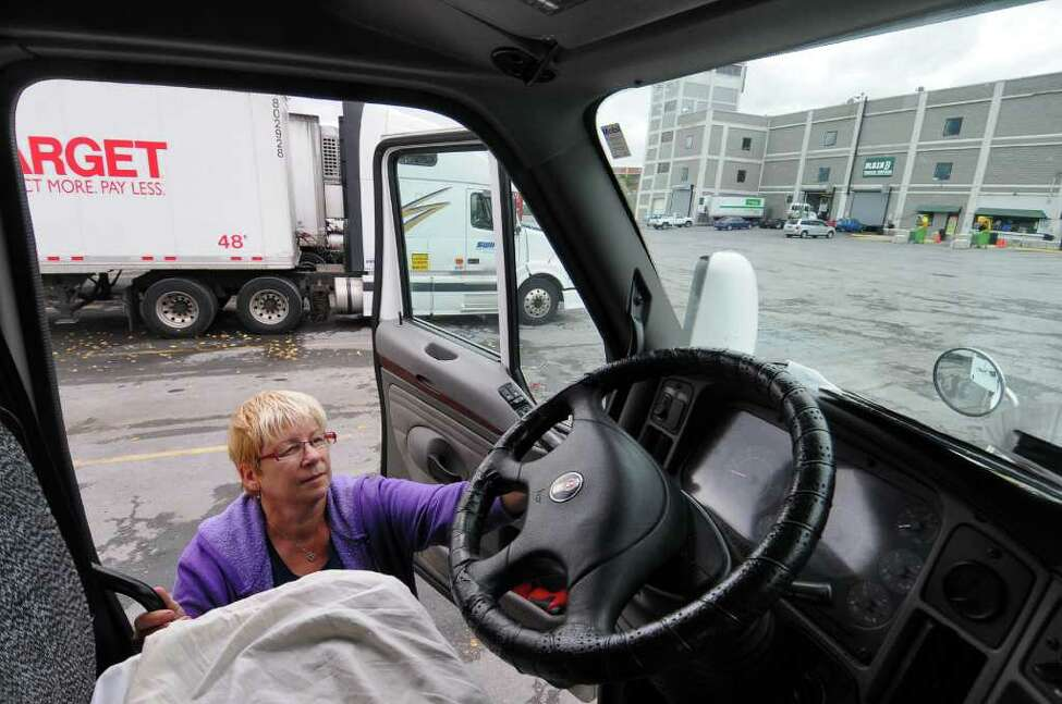 Truck driver Virginia May of Peoria, Ill. is upset over the state's plans to close rest areas as a money-saving measure.