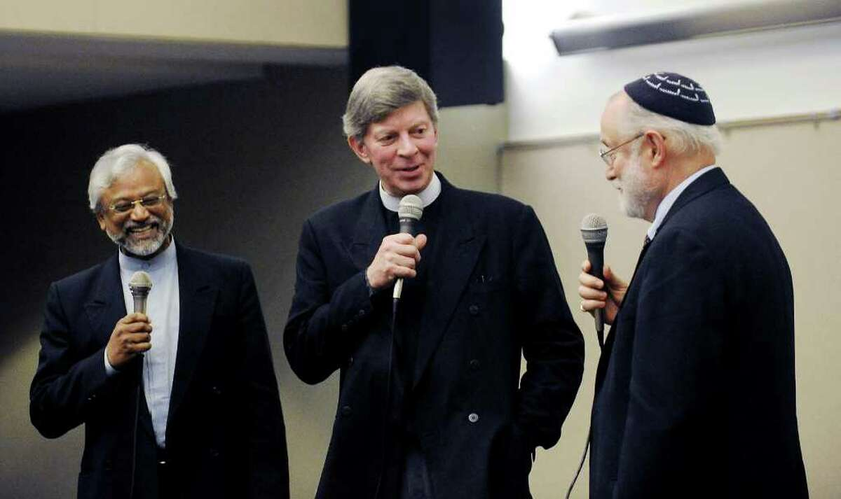 Sheikh Jamal Rahman, Pastor Donb Mackenzie and Rabbi Ted Falcon speak at an event sponsored by the Interfaith Council of Southwestern Connecticut at UCONN Stamford in Stamford, Conn. on Tuesday September 28, 2010