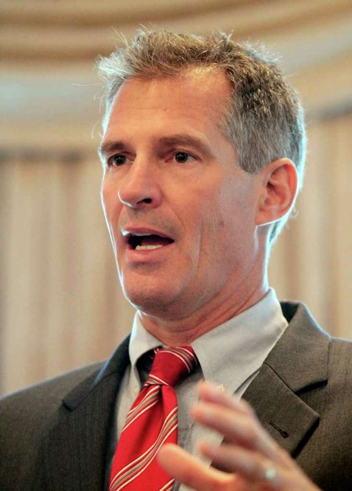 U.S. Sen. Scott Brown, R-Mass., addresses the New England Associated Press News Executives Association in Chelmsford, Mass., Sept. 11. (AP Photo/Winslow Townson)