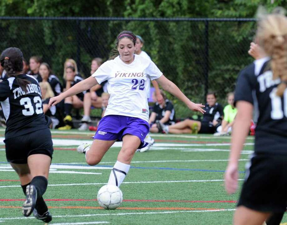 Westhill's Tessa Dunster in action as Westhill High hosts Trumbull High in a girls soccer game Wednesday, September 29, 2010. Trumbull won the game 1-0. Photo: Keelin Daly / Stamford Advocate