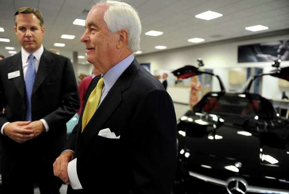 Roger Penske, the Chairman of the Board and CEO of Penske Automotive Group and Penske Corporation, talks about the re-construction of four Penske Automotive Group car dealerships on Commerce Drive in Fairfield during the grand opening of the Mercedez-Benz of Fairfield Showroom with AMG Performance Center. Photo: Lindsay Niegelberg / Connecticut Post