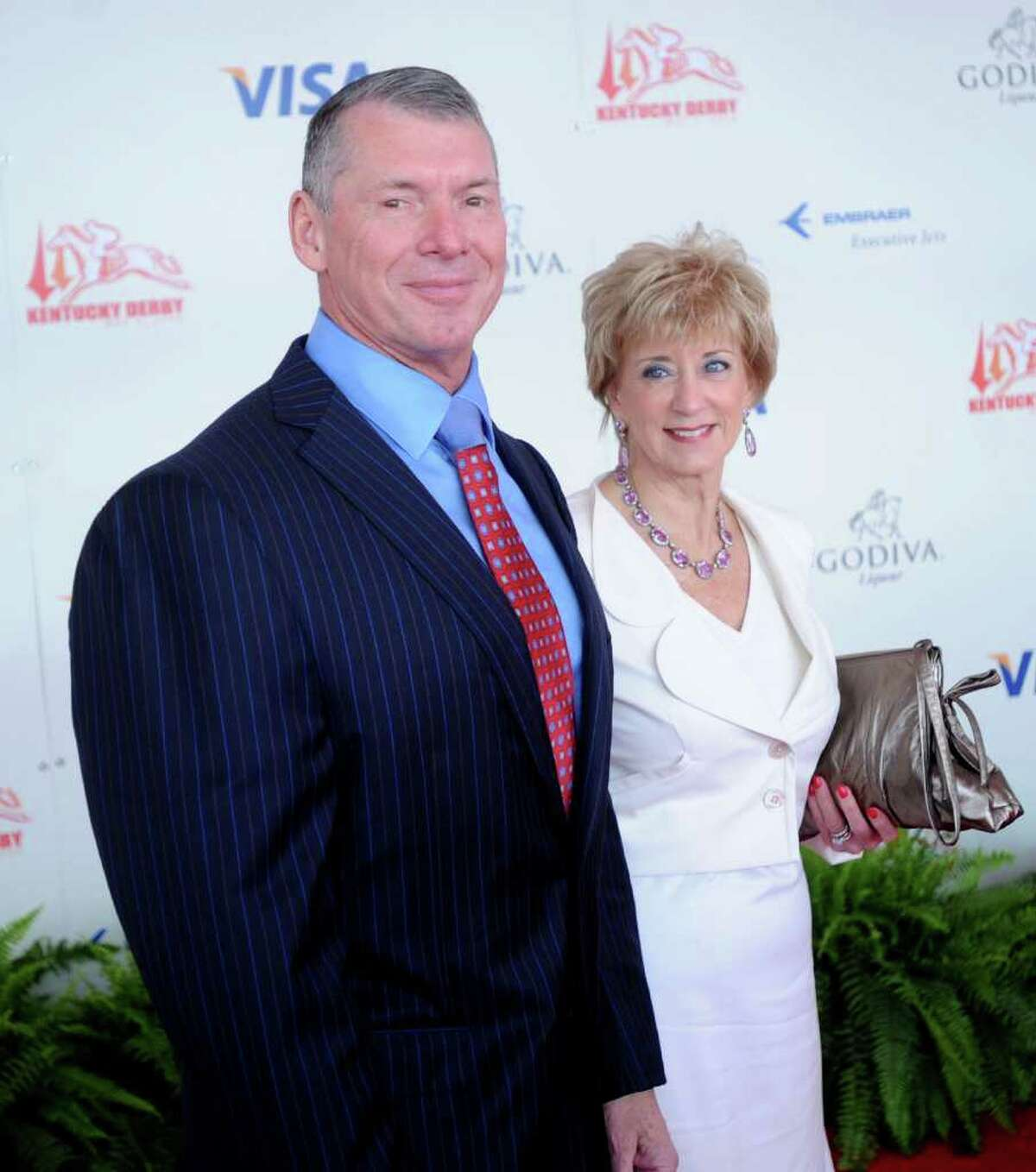WWE Chairman Vince McMahon and his wife Linda McMahon, CEO of World Wrestling Entertainment, Inc., attend the 134th running of the Kentucky Derby at Churchill Downs on May 3, 2008 in Louisville, Kentucky. (Photo by Jeff Gentner/Getty Images) 7/25/10 GT photo = Vince. Whoever he's battling, Vince McMahon is a tough guy to pin down. by Brian Lockhart