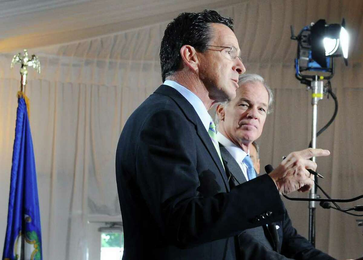 Democratic candidate Dan Malloy and Republican candidateTom Foley square off in the Gubernatorial debate and luncheon at the Hyatt Regency Greenwich in Greenwich, Conn. on Friday October 1, 2010.