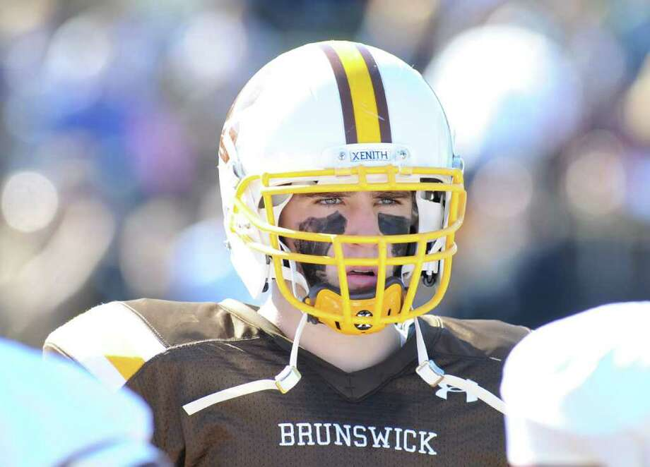 Brunswick School football captain Sammy Mcfarlane during the Brunswick School vs. Avon Old Farms football game at Brunswick School, Saturday afternoon, Oct. 2, 2010. Photo: Bob Luckey / Greenwich Time