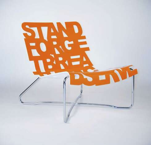 "This laser-cut chair from Palette Industries features the words ""stand,"" ""forget,"" ""breathe,"" ""acknowledge"" and ""observe."" (Palette Industries / Associated Press)"