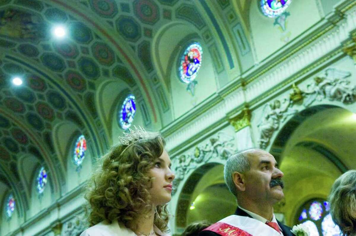 Miss Polonia Stamford Monika Lawecka and Stamford's Grand Marshal Michael Dabek join fellow congregants for Mass at Holy Name of Jesus Church Sunday October 3, 2010. Following Mass congregants headed to New York City to march in the 73rd Annual Pulaski Day Parade along Fifth Avenue. This is the 39th year the Stamford congregation has participated in the parade which commemorates Polish officer Casimir Pulaski. Pulaski helped train the US cavalry and soldiers during the American Revolution; he died on October 9, 1779 from wounds suffered during the Seige of Savannah, a failed attempt to wrestle control of the city from the British in 1779. In 2009 President Barack Obama signed a resolution making Pulaski an American citizen.