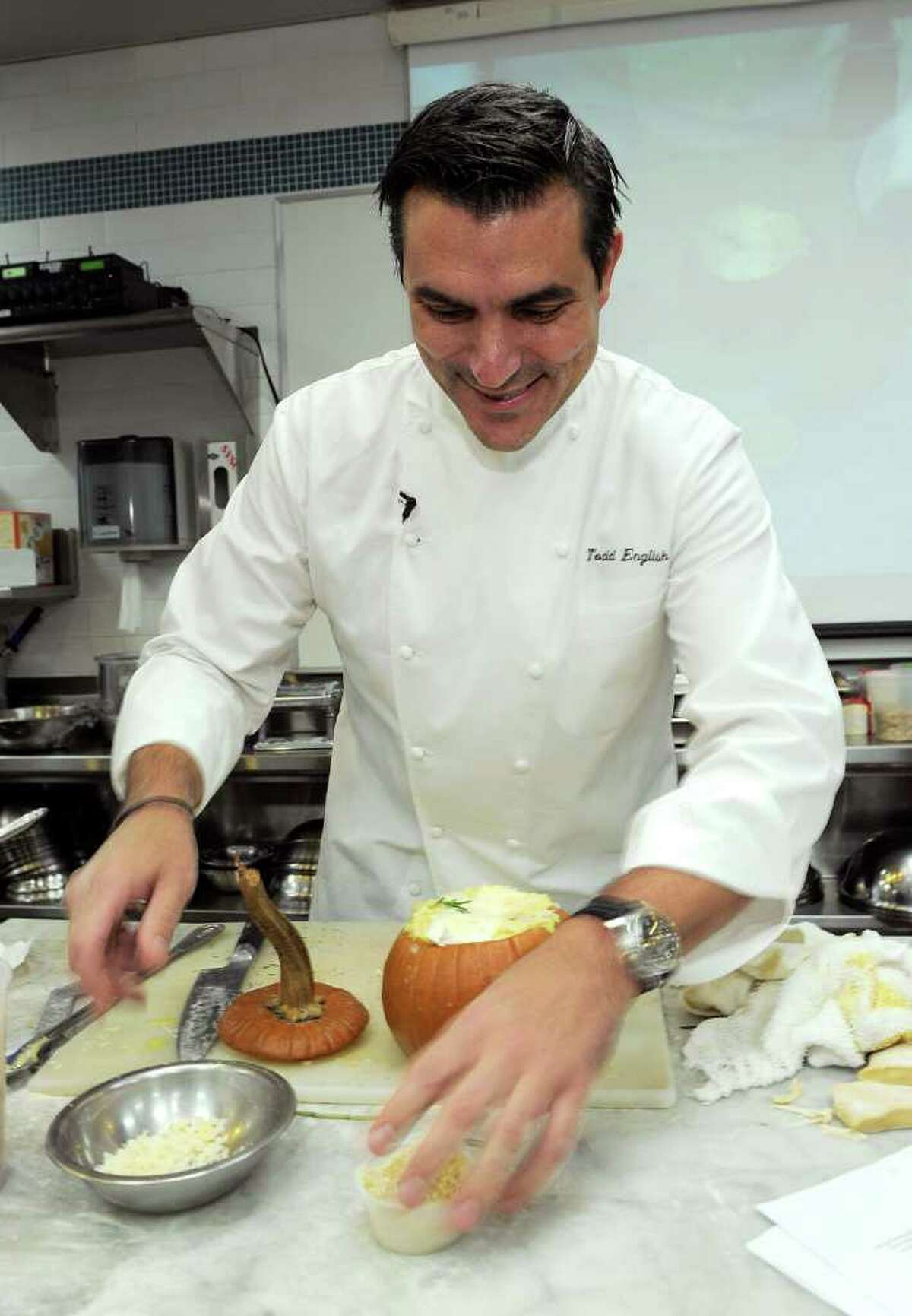 Chef Todd English teaches a class during the New York Culinary Experience hosted by New York magazine and The French Culinary Institute at The French Culinary Institute on October 3, 2010 in New York City. (Photo by Larry Busacca/Getty Images for New York magazine)
