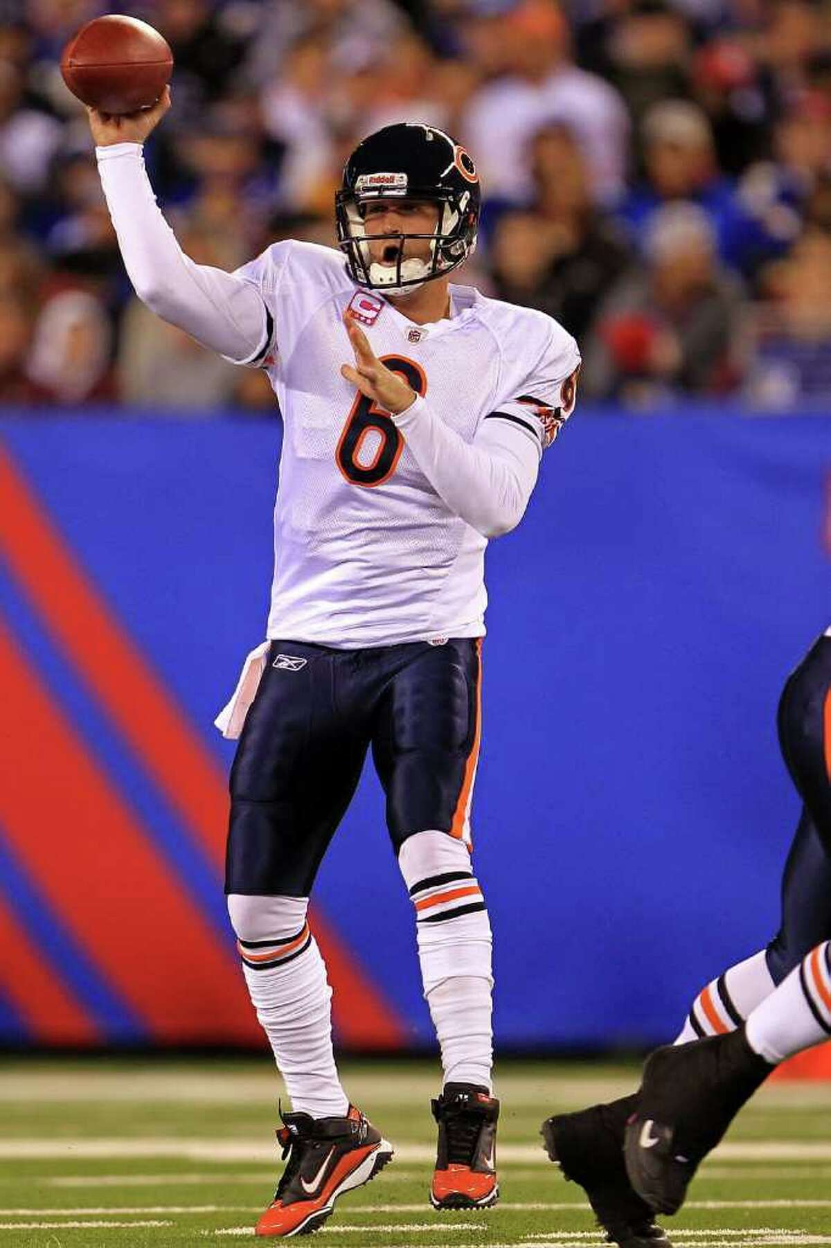EAST RUTHERFORD, NJ - OCTOBER 03: Jay Cutler #6 of the Chicago Bears drops back to pass against the New York Giants at New Meadowlands Stadium on October 3, 2010 in East Rutherford, New Jersey. (Photo by Chris McGrath/Getty Images) *** Local Caption *** Jay Cutler