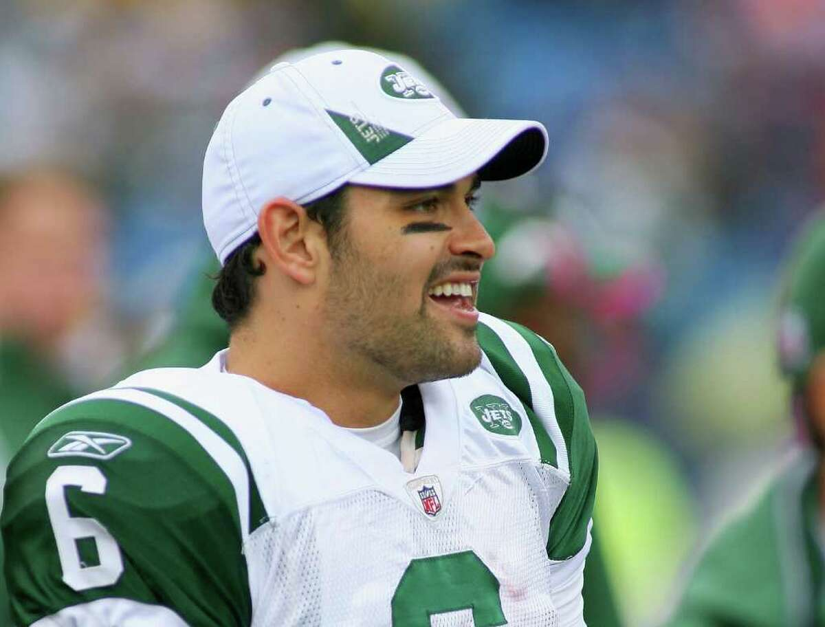 ORCHARD PARK, NY - OCTOBER 03: Mark Sanchez #6 of the New York Jets stands on the sidelines against the Buffalo Bills at Ralph Wilson Stadium on October 3, 2010 in Orchard Park, New York. The Jets won 38-14. (Photo by Rick Stewart/Getty Images) *** Local Caption *** Mark Sanchez