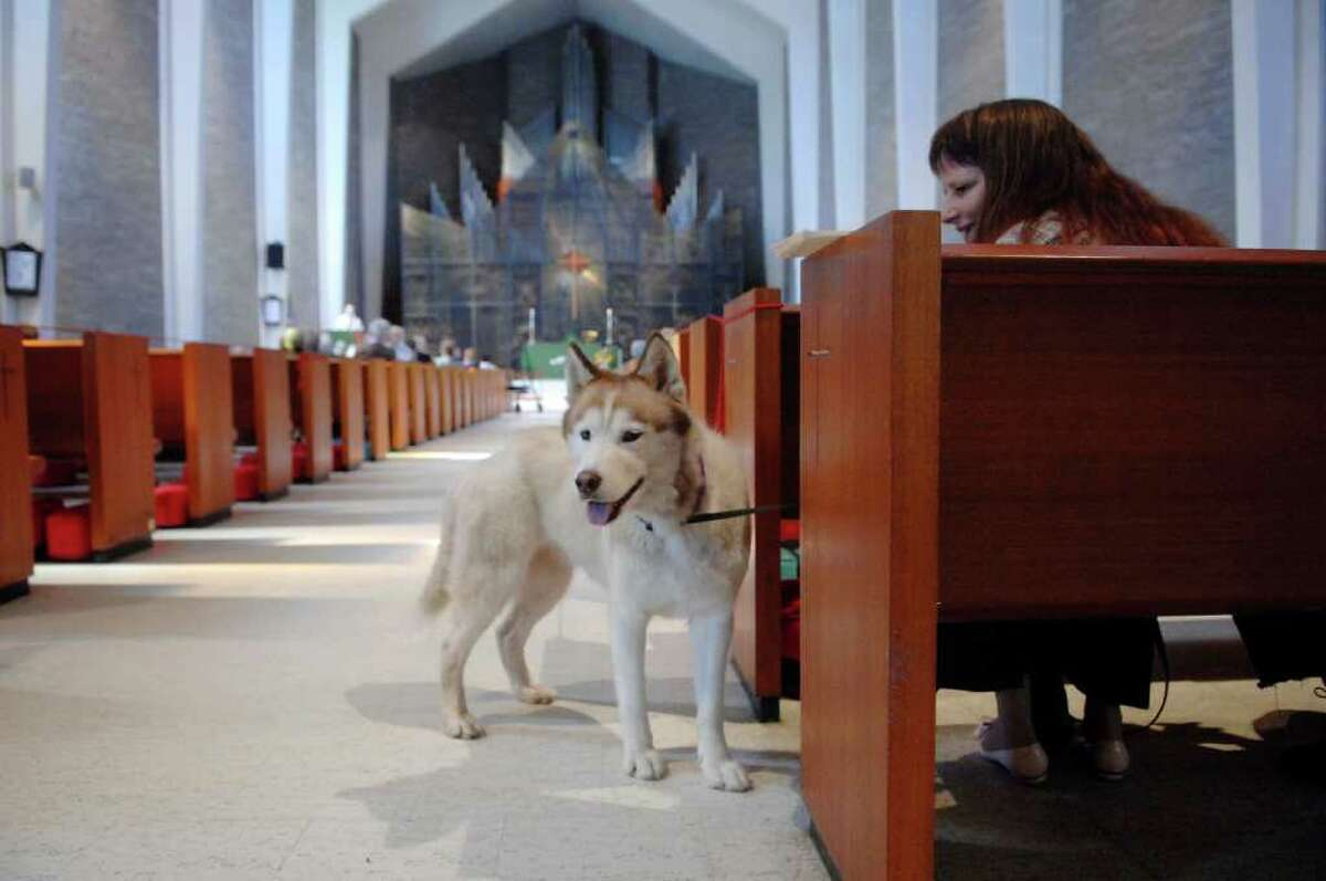 Stacie Halloran, from Cohoes, NY, sits with her family dog, Shaska, at St. Paul's Episcopal Church in Albany, NY during a blessing of the animals service at the Albany, NY church. During the service owners brought their pets up to be blessed. Shaska is a rescue dog that the Halloran family got from the Humane Society. (Paul Buckowski / Times Union)