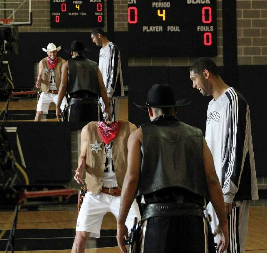 Lights, camera, laughter! Quick draw and western wear proved too much for Tony Parker (with back to camera), Manu Ginobili and Tim Duncan during a recent commercial shoot that was hit with the giggles.