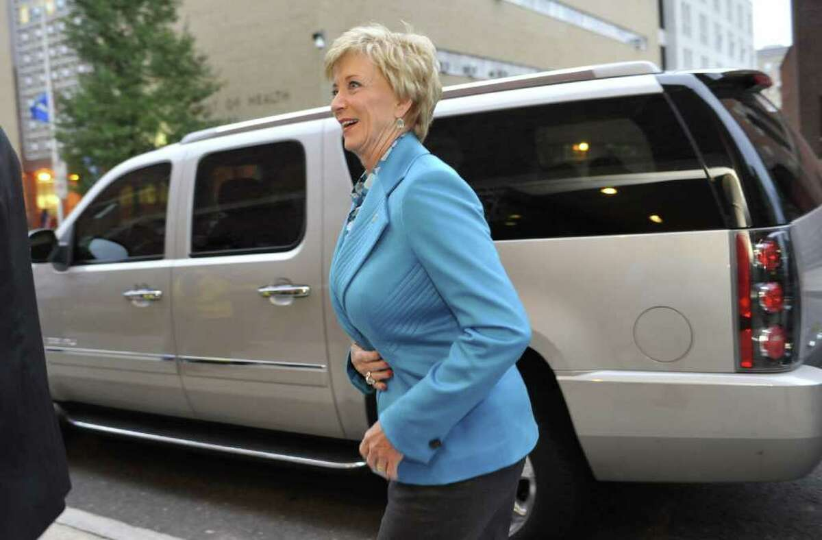 Republican U.S. Senate candidate Linda McMahon arrives at The Bushnell theater for her debate against Democratic candidate Richard Blumenthal in Hartford, Conn., on Monday, Oct. 4, 2010. (AP Photo/Jessica Hill)