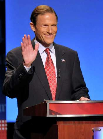 Democratic candidate for U.S. Senate Richard Blumenthal, gestures during a debate against Republican candidate for U.S. Senate Linda McMahon in Hartford, Conn., on Monday, Oct. 4, 2010. (AP Photo/Rich Messina, Pool) Photo: AP