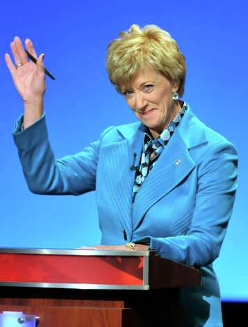 Republican candidate for U.S. Senate Linda McMahon gestures during debate with Democratic candidate for U.S. Sentate Richard Blumenthal in Hartford, Conn., on Monday, Oct. 4, 2010. (AP Photo/Rich Messina, Pool) Photo: AP