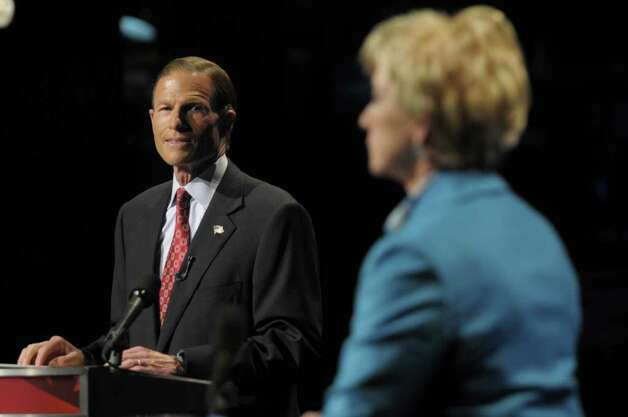 Democratic candidate for U.S. Senate Richard Blumenthal, left, and Republican candidate for U.S. Senate Linda McMahon, right, debate in Hartford, Conn., on Monday, Oct. 4, 2010. (AP Photo/Rich Messina, Pool) Photo: AP