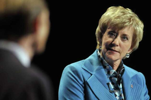 Republican candidate for U.S. Senate Linda McMahon, right, and Democratic candidate for U.S. Senate Richard Blumenthal, left, debate in Hartford, Conn., on Monday, Oct. 4, 2010. (AP Photo/Rich Messina, Pool) Photo: AP