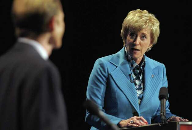 Republican candidate for U.S. Senate Linda McMahon, right, looks over to opponent Democratic candidate for U.S. Senate Richard Blumenthal, left, during a debate in Hartford, Conn., on Monday, Oct. 4, 2010. (AP Photo/Rich Messina, Pool) Photo: AP