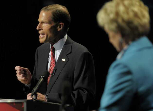 Democratic candidate for U.S. Senate Richard Blumenthal, left, gestures while debating Republican candidate for U.S. Senate Linda McMahon, right, in Hartford, Conn., on Monday, Oct. 4, 2010. (AP Photo/Rich Messina, Pool) Photo: AP
