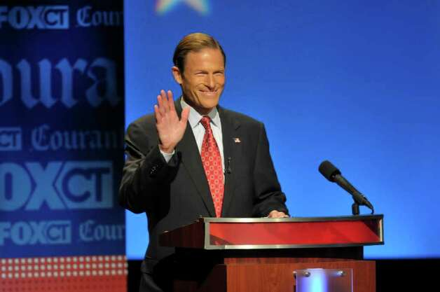 Hartford, CT 10-4-2010 Attorney General Richard Blumenthal and former CEO of World Wrestling Entertainment Linda McMahon participated in debate for the U.S. Senate at the Belding Stage at the Bushnell in Hartford.  Digital Photo by Richard Messina | rmessina@courant.com ORG XMIT: B58759420Z.1 Photo: Richard Messina, Hartford Courant / \20101004\B58759420Z.1