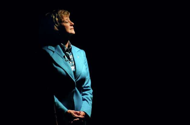 Republican candidate for U.S. Senate Linda McMahon, pauses backstage before a debate with Democratic candidate Richard Blumenthal in Hartford, Conn., on Monday, Oct. 4, 2010. (AP Photo/John Woike, Pool) Photo: AP