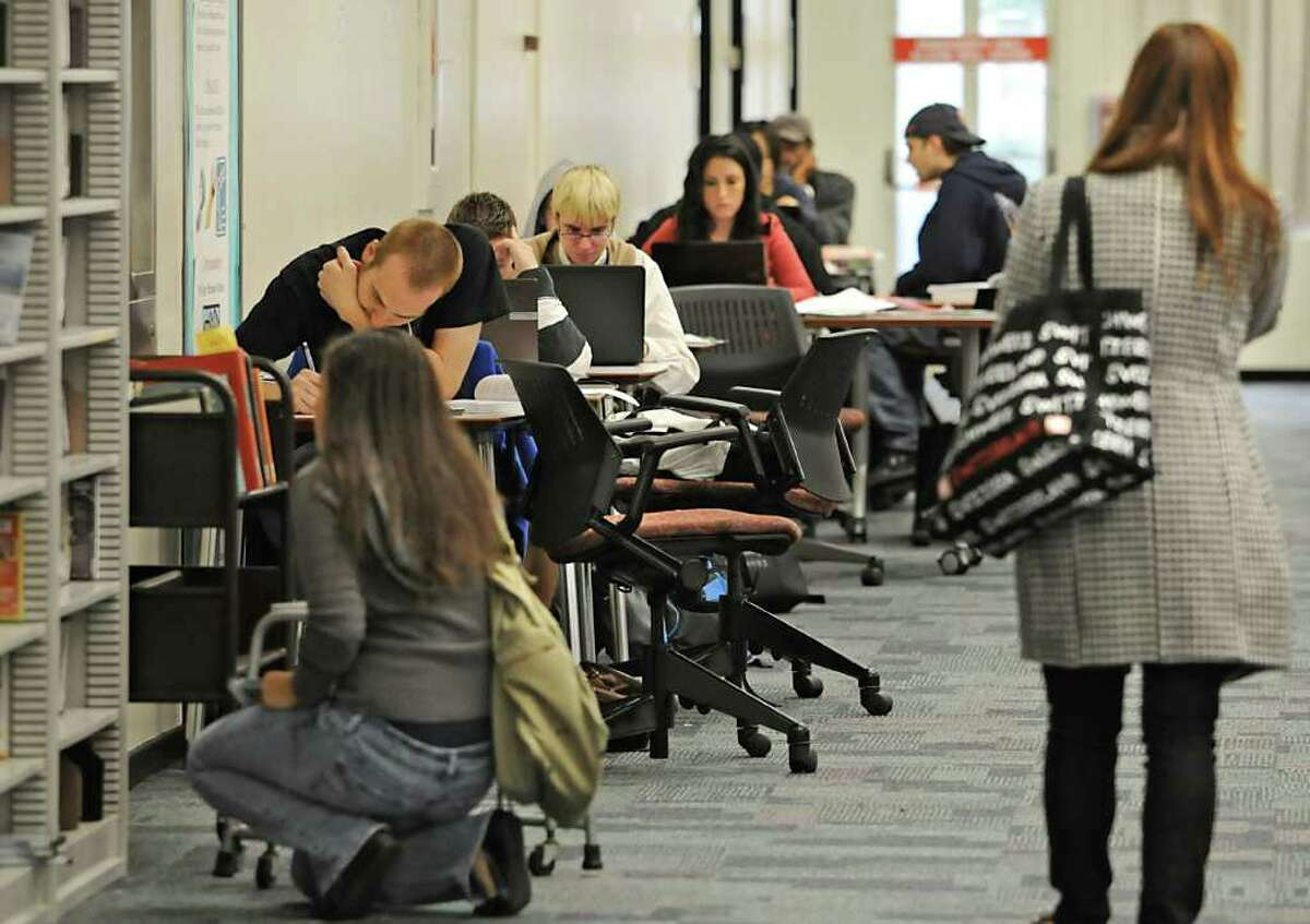 Students use the Library at UAlbany in Albany, NY on October 4, 2010. (Lori Van Buren / Times Union)