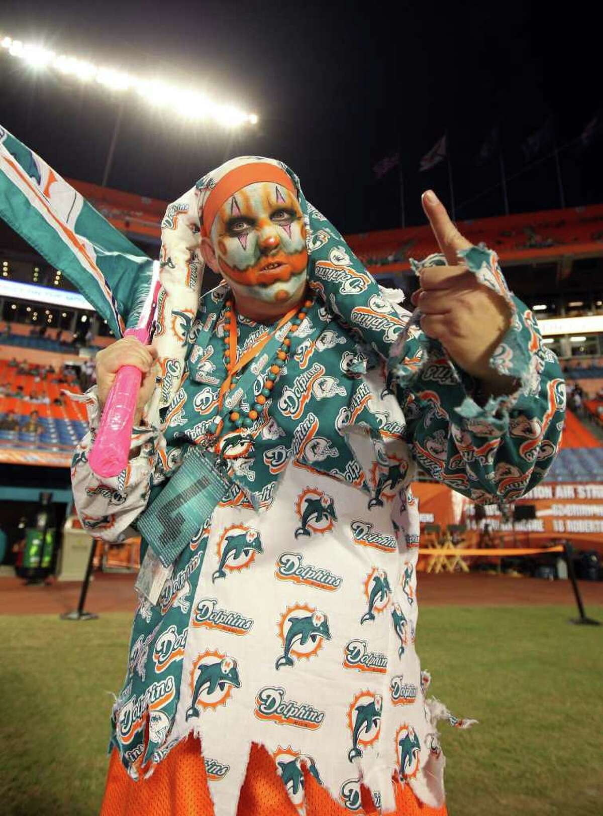 MIAMI - OCTOBER 4: A fan of the Miami Dolphins gets set for the game against the New England Patriots at Sun Life Field on October 4, 2010 in Miami, Florida. (Photo by Scott Cunningham/Getty Images)