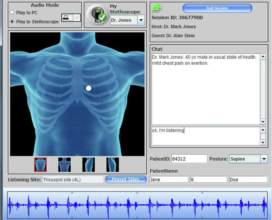 This screen capture shows a Zargis telemedicine cardiology consultation in progress.  The Stamford company's revolutionary Bluetooth-enabled stethoscope and sound analysis software allow physicians to capture and record a patient's heartbeat to help diagnose a cardiac problem. Photo: Contributed Photo / Stamford Advocate Contributed
