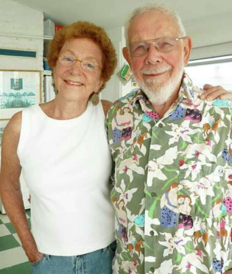 "Mary-Lou Wesiman with Al Jaffee, whose cartoons were showcased in Mad magazine and the subject of Weisman's new book, ""Al Jaffee's Mad World."" The pair will appear Wednesday at both the Fairfield and Westport public libraries. Photo: Contributed Photo / Fairfield Citizen contributed"